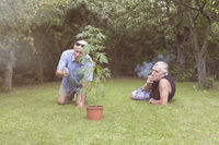 Seniors smoking marijuana and relaxing in the garden