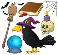 Witch crow theme set 1 - picture illustration.