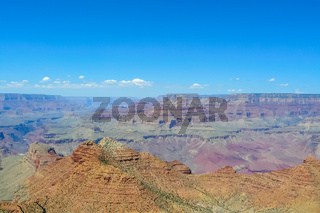 Grand Canyon with sun aerial view