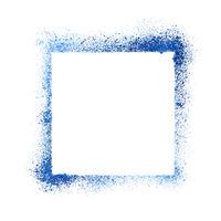 Blue sprayed stencil frame