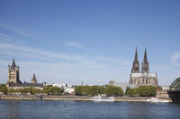 Cathedral  with River Rhine, Cologne, Germany, Europe