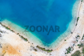 Abstract aerial photo from the corner of a gravel pond