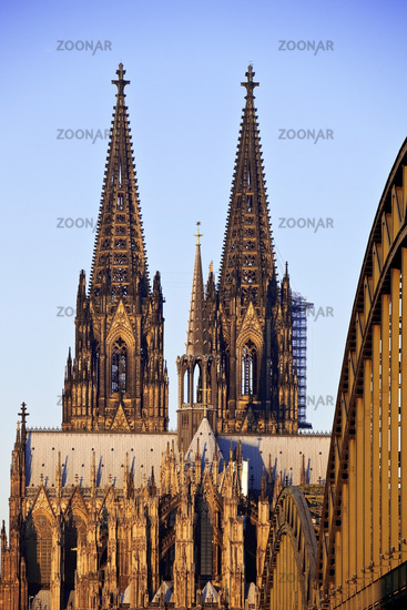 Cologne Cathedral and Hohenzollern Brigde at sunrise, Cologne, Rhineland, Germany, Europe