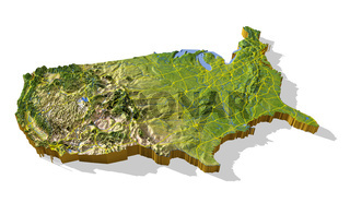 United States, 3D relief map cut-out.