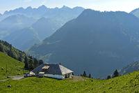 Mountain pasture dairy on the pass Col de Jaman, Les Avants, Switzerland
