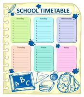 Weekly school timetable topic 4 - picture illustration.
