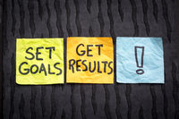 set goals, get result concept