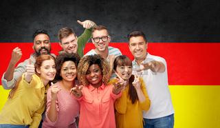 international people gesturing over german flag