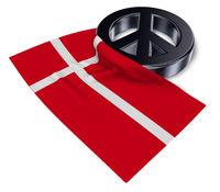 friedenssymbol und flagge von dänemark - 3d rendering
