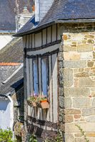 exterior facade and slate roof of a typical brittany house