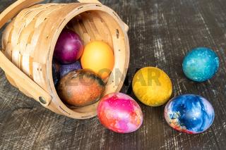 Painted Easter eggs basket