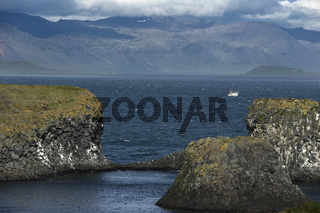 Mountains and Seashore of the Atlantic Ocean, Icelandic Landscape.