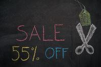 Sale 55% off on chalkboard