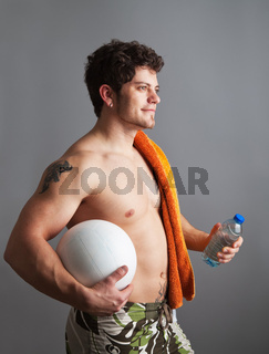 young man going on the beach