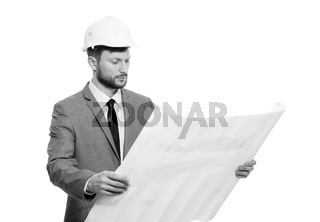 Mature male architect with a blueprint