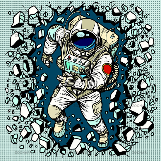 Astronaut breaks the wall, leadership and determination