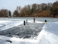 Ice hockey as a winter sport on a frozen lake