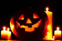 Halloween pumpkin and candles