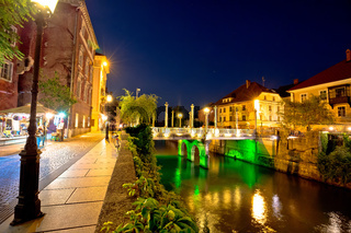 Ljubljanica river waterfront in Ljubljana evening view