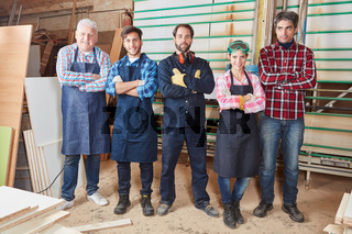 Schreiner mit Gruppe Handwerker