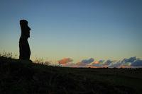 Moai statue ahu akapu at sunset, easter island