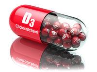 Vitamin D3 capsule or pill. Dietary supplements. Cholecalciferol