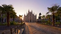 Duomo square and palms tree