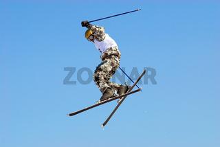 Skier extreme jump