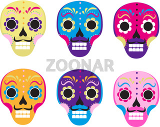 Sugar skull set icon, flat, cartoon style. Cute dead head, skeleton for the Day of the Dead in Mexico. Isolated on white background. Vector illustration, clip art.