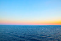 Sea horizon and clear at sundown