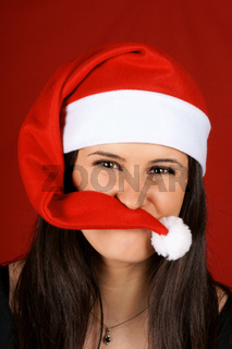 Funny Santa Claus girl