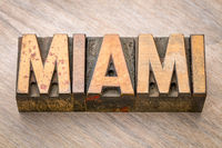 Miami word abstract in letterpress wood type