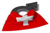 symbol für männlich und flagge der schweiz - 3d illustration