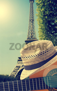 Guitar and summer hat in France