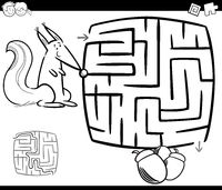 maze with squirrel coloring page