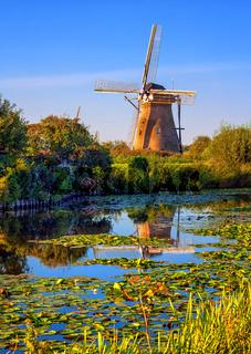 Windmill in Holland, Kinderdijk, Netherlands