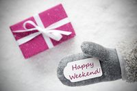 Pink Gift, Glove, Text Happy Weekend, Snowflakes