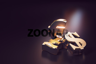 Golden euro, dollar and pound signs. Financial banking currency exchange concept background. 3d
