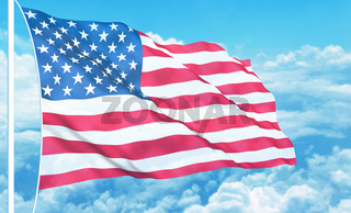 USA flag high in the sky