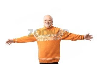Portrait of happy senior man arms outstretched