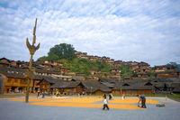 Xijiang Miao Minority Village Town Square Houses