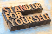 stand up for yourself word abstract