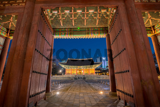 Deoksugung Palace at night in Seoul city, South Korea