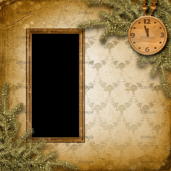 Antique clock face with and firtree on the abstract background