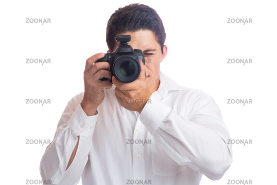 Junger Fotograf Fotografie fotografieren Beruf mit Kamera Freisteller