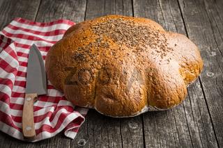 Large loaf of bread.