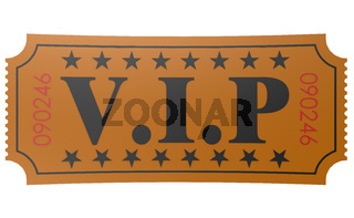Isolated ticket with VIP word