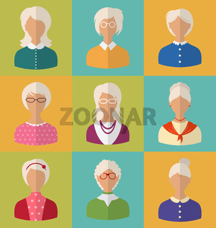 Old People of Faces of Women of Grey-headed
