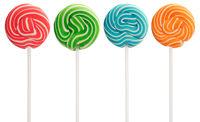 Red, green, blue and orange mini lollipops