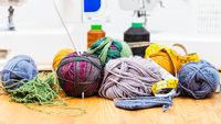 various knitting tools and sewing machines